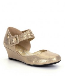 Jessica Simpson Girls Gold Maryjane Strap Dress Shoes