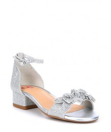 Gb Girls Silver Petal Ankle Strap Block Heel Dress Shoe