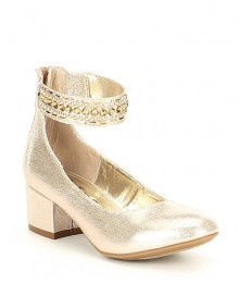 Nina Girls Gold Ankle Studed Strap Block Heel Shoes