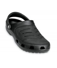 Crocs Black With Suede Top  Clog