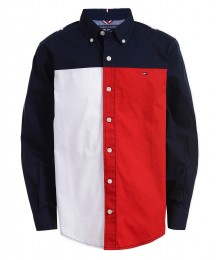 Tommy Hilfiger Blue/Red/White Color Block Hilfiger On Back L/S Shirt