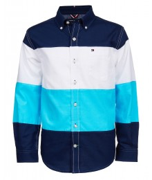 Tommy Hilfiger Blue/White/Light Blue Color Block L/S Shirt Big Boy