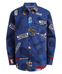 Tommy Hilfiger Navy Blue Hilfiger Multi Print L/S Shirt  Big Boy