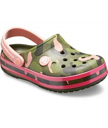 Crocs Army Green With Pink/Black Camo Clog