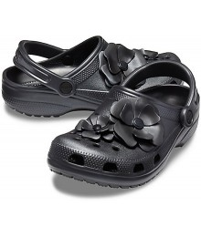 Crocs Black With Petals Clog
