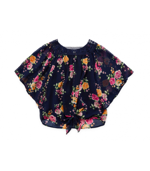 Beautees Navy Purple Floral Print Round Neck Blouse