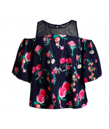 Obsess Navy Floral Print Cold-Shoulder Blouse With Necklace