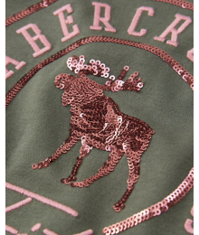 Abercrombie Green Embellished Deer  A & F  Tee