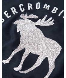 Abercrombie Black Shiny Deer  A & F  Tee  Little Girl