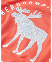 Abercrombie Peach Shiny Deer  A & F  Tee  Little Girl