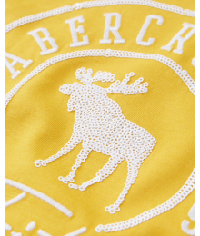 Abercrombie Yellow Embellished Deer  A & F  Tee