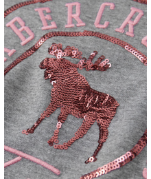 Abercrombie Grey Embellished Deer  A & F  Tee