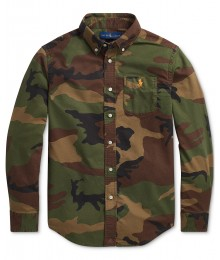 POLO RALPH LAUREN GREEN CAMO OXFORD L/S SHIRT