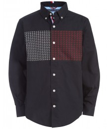 TOMMY HILFIGER DARK BLUE BOYS IVES PIECED GEO-PRINT L/S SHIRT