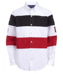 TOMMY HILFIGER WHITE/NAVY/RED BOYS COLORBLOCK STRIPE L/S SHIRT