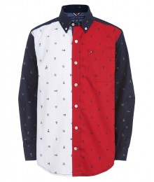 TOMMY HILFIGER NAVY/WHITE/RED BOYS COLORBLOCK L/S SHIRT