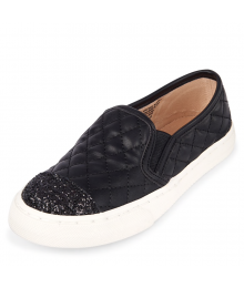 CHILDRENS PLACE BLACK GILRS GLITTER QUILTED WHITE SOLE SLIP-ON SNEAKERS