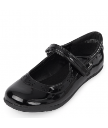 CHILDRENS PLACE BLACK GIRLS UNIFORM FLOWER SHOE