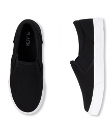 CHILDRENS PLACE BLACK BOYS WITH WHITE SOLE SLIP-ON SNEAKERS