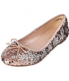 CHILDRENS PLACE ROSE GOLD SEQUIN BALLET FLATS