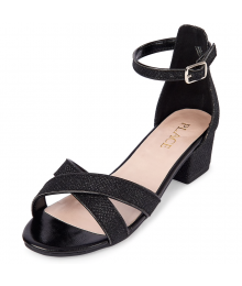 CHILDRENS PLACE BLACK GLITTER LOW HEEL SANDALS