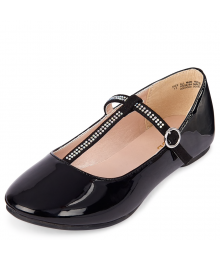 CHILDRENS PLACES BLACK RHINESTUD T-STRAP BALLET FLATS