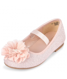 Childrens Place Pink Strap Glitter Flower Ballet Flats Shoes