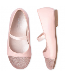 Childrens Place Pink Girls Glitter Ballet Flats Shoes