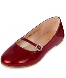 CHILDRENS PLACES RED GLITTER BALLET FLATS