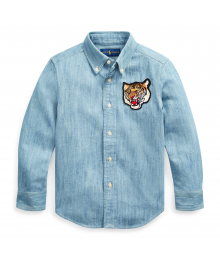 POLO RL DENIM CHAMBRAY WITH TIGER CREST & PLAID BACK LS SHIRT Big Boy