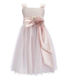 Chantilly Place Pink Brocade Ruffled Bow Dress