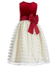 Jayne Copeland Ivory/Red Velvet Striped Organza Dress