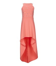 Poppie & Roses Coral Jewelled Bodice High Low Dress