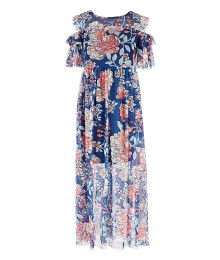 Bonnie Jean Navy Floral Print Cold Shoulder Mesh Long Dress