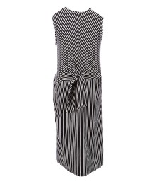Monteau Girls Black/White Stripe With White Frilled Collar Tie Front Dress