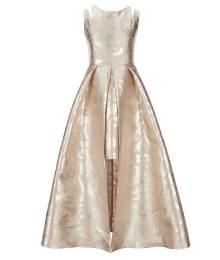 Rare Editions Gold/Taupe Brocade Print Walk Through Skirt Dress