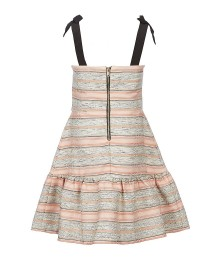 Gb Girls Pink/Grey Tie Shoulder Striped Woven Drop Waist Dress
