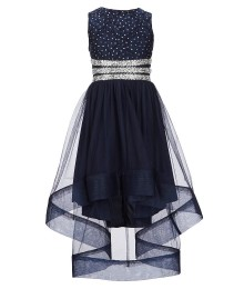 Xtraordinary Navy Beaded Lace Tulle High-Low Dress