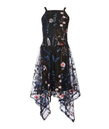 Miss Behave Black Wt Multi Floral Embroidered Dress
