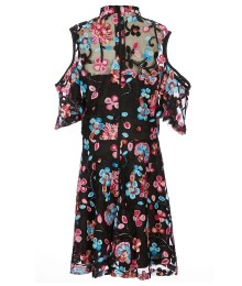 Miss Behave Black With Pink Multi Floral Knit Cold Shoulder Dress