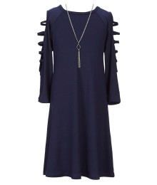 In Girl Navy Cold Shoulder With Strips And Neckchain A Line Dress