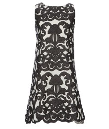 Ava & Yelly Black/Ivory Embroidered Brocade Dress