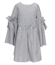 Habitual Black/White Stripe Bell Sleeve With Bow Dress