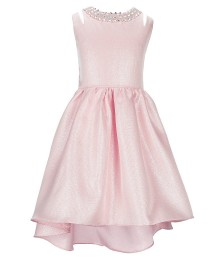 Rare Editions Pink/Blush Jewelled Neck High Low Dress
