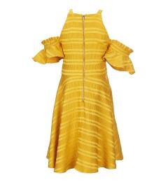 Gb Girls Gold Cold Shouldre Textured Stripe Dress