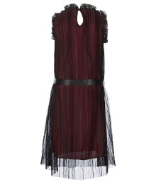 Ava & Yelly Black/Oxblood Mesh Trapeze Dress