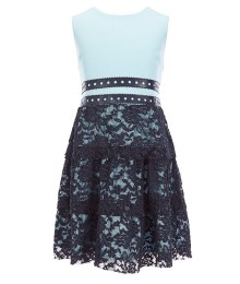 Bcb Girls Skyblue/Dark Blue Lace Dress With Leather Waist Straps  Big Girl