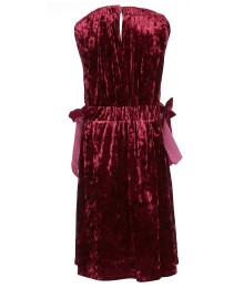 Habitual Burgundy Velvet Side Bows Dress