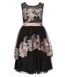 Bonnie Jean Black With Bronze Sequin Embroidered Dress