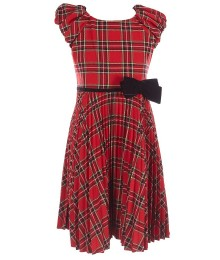 Bonnie Jean Red Puff Sleeves Plaid Drss With Velvet Waist Bow